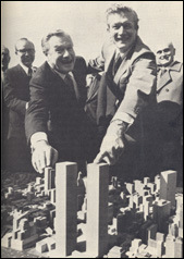 "David and Nelson Rockefeller smirking at their ""built to blow up"" monstrosities"