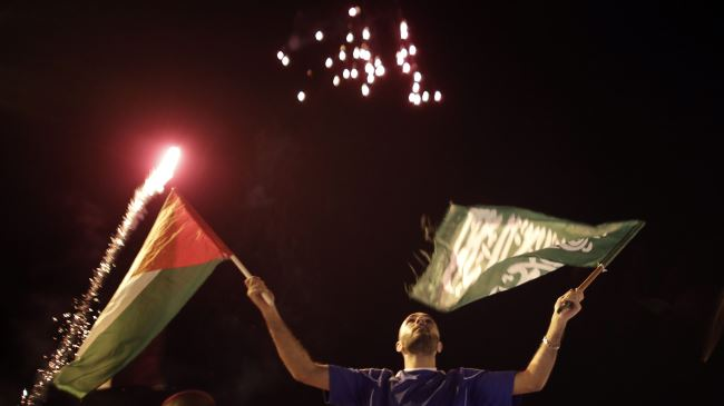 Palestinians celebrating their victory in the Israeli war on Gaza, August 26, 2014